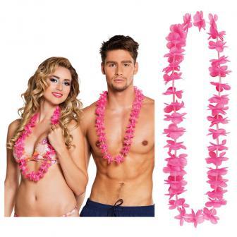 Einfarbige Hawaii Blumenketten 25er Pack-pink