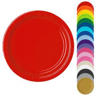 Einfarbige Pappteller 22,8 cm 8er Pack