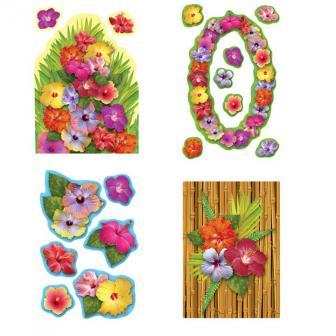 Raumdeko Hibiskusblüten-Paradies 18-tlg. 41 cm