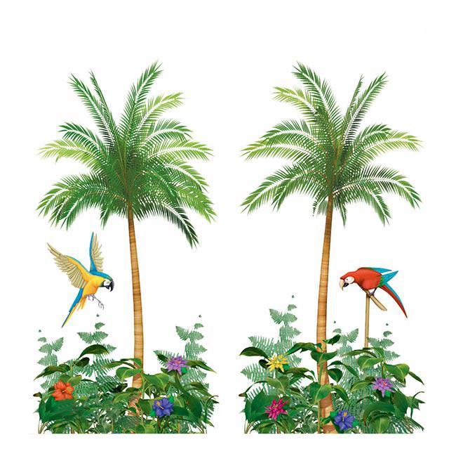 wanddeko palme mit papagei 165 x 85 cm 2 tlg g nstig. Black Bedroom Furniture Sets. Home Design Ideas