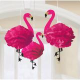 """Deckenhänger aus Wabenpapier """"Flamingo-Trio"""" 3er Pack"""