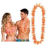 Einfarbige Hawaii Blumenketten 25er Pack-orange