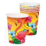 Pappbecher exotischer Flamingo 6er Pack