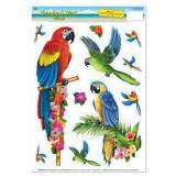 Statisch haftende Aufkleber Tropische Papageien 11-tlg.