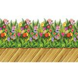 Wanddeko Gehweg aus Bambus mit tropischen Blumen 0,61 x 9,1 m