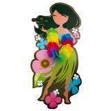 Wanddeko Hula-Girl mit Blumenkette
