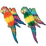 XXL-Raumdeko Farbenfroher Papagei mit Wabendeko 76 cm